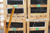 Negro Marquina marble tile crates